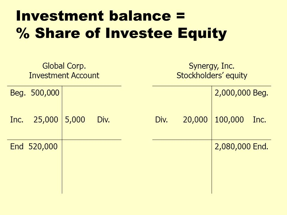 Investment balance = % Share of Investee Equity
