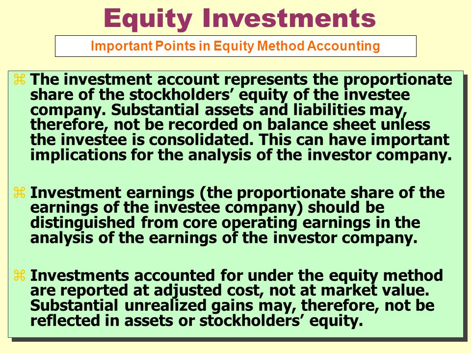 Important Points in Equity Method Accounting