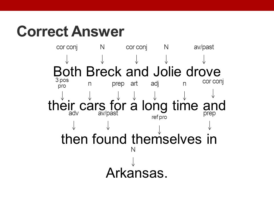 Correct Answer cor conj. N. cor conj. N. av/past. Both Breck and Jolie drove their cars for a long time and then found themselves in Arkansas.