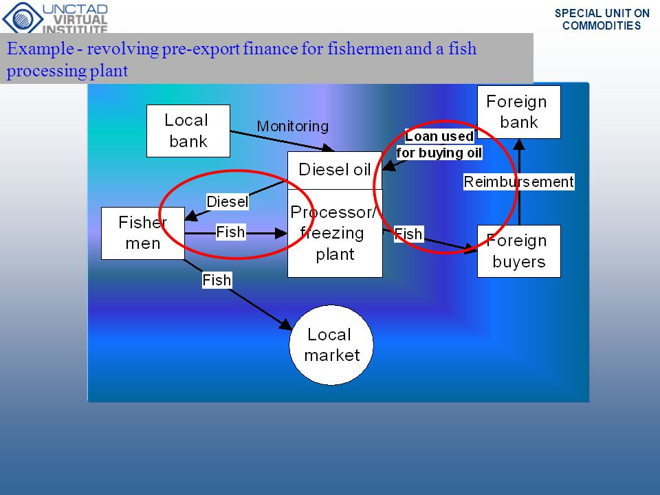 Example - revolving pre-export finance for fishermen and a fish processing plant