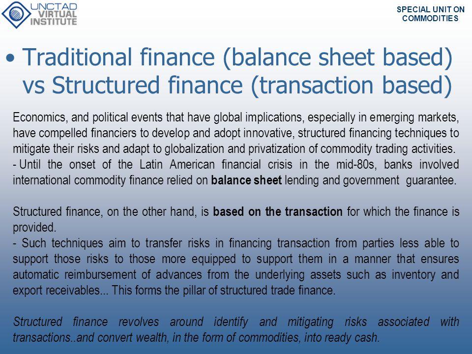 Traditional finance (balance sheet based) vs Structured finance (transaction based)