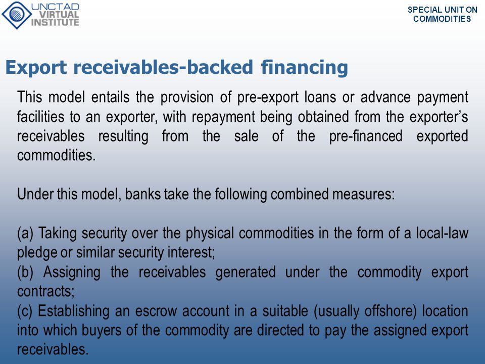Export receivables-backed financing