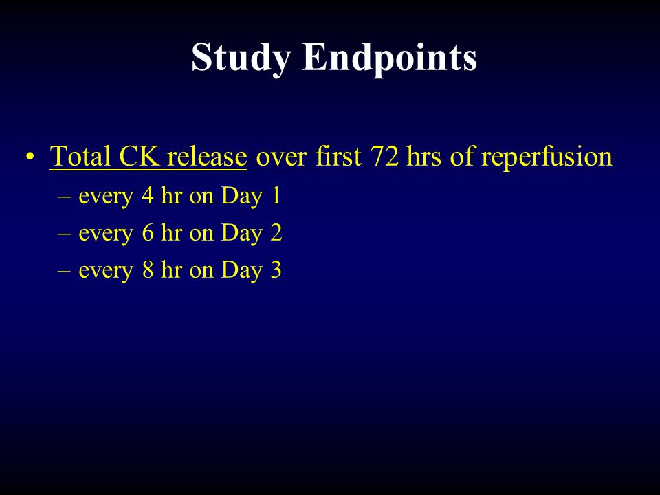 Study Endpoints Total CK release over first 72 hrs of reperfusion