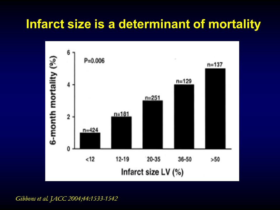 Infarct size is a determinant of mortality