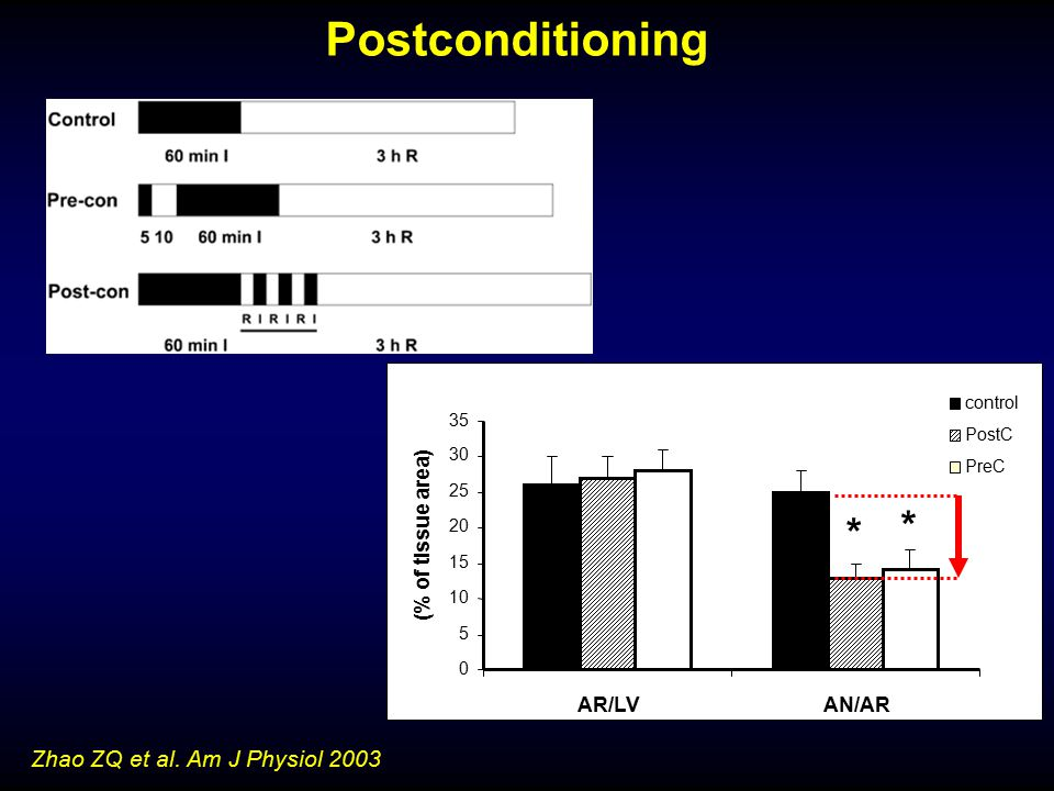 Postconditioning * Zhao ZQ et al. Am J Physiol 2003 (% of tissue area)