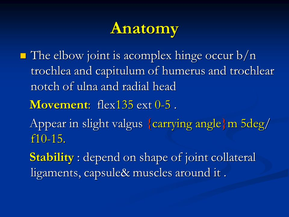 Anatomy The elbow joint is acomplex hinge occur b/n trochlea and capitulum of humerus and trochlear notch of ulna and radial head.