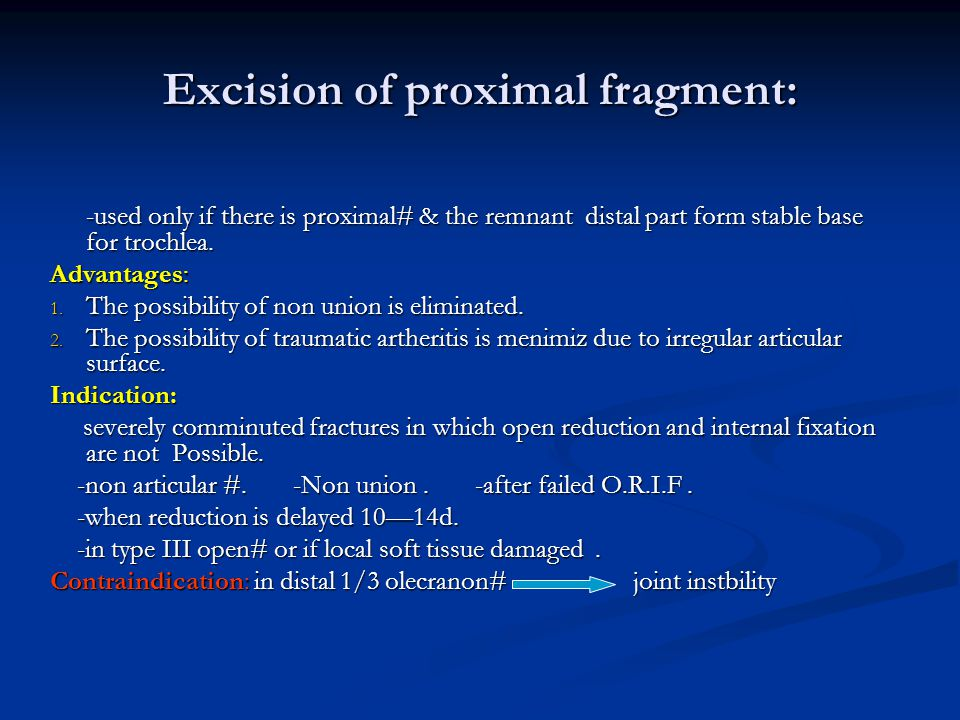 Excision of proximal fragment: