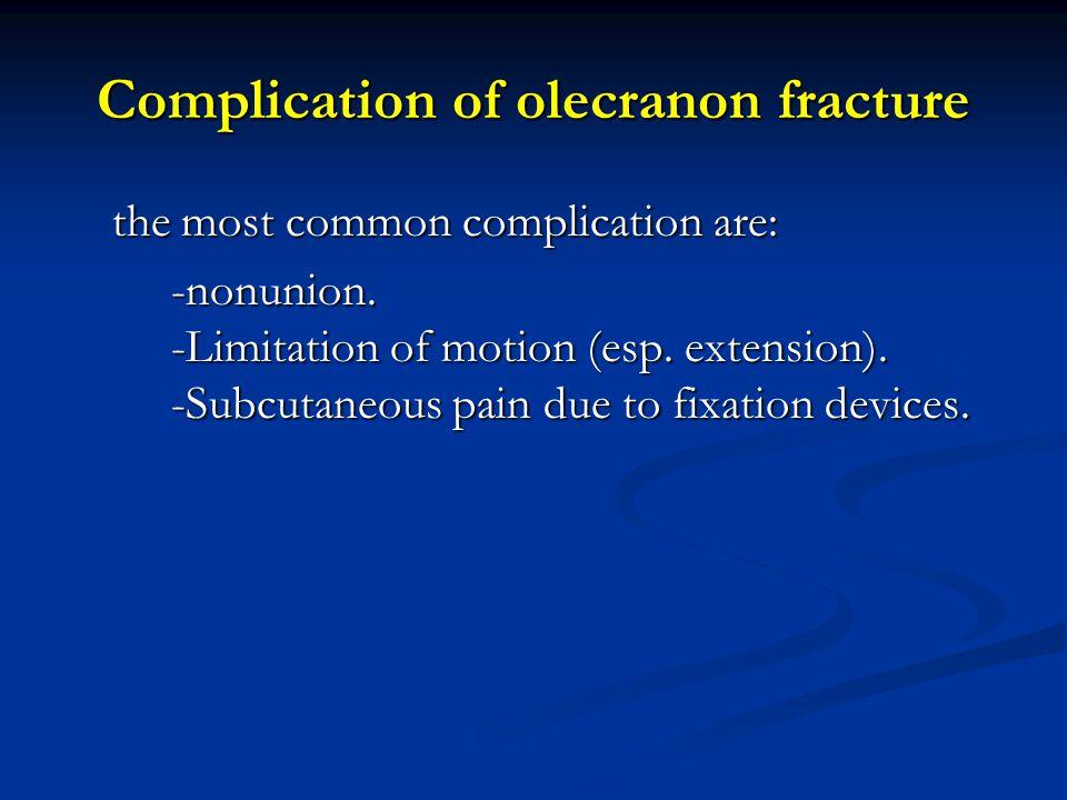 Complication of olecranon fracture