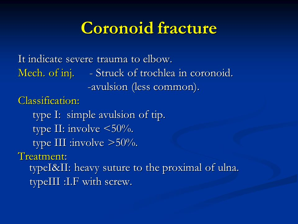 Coronoid fracture It indicate severe trauma to elbow.