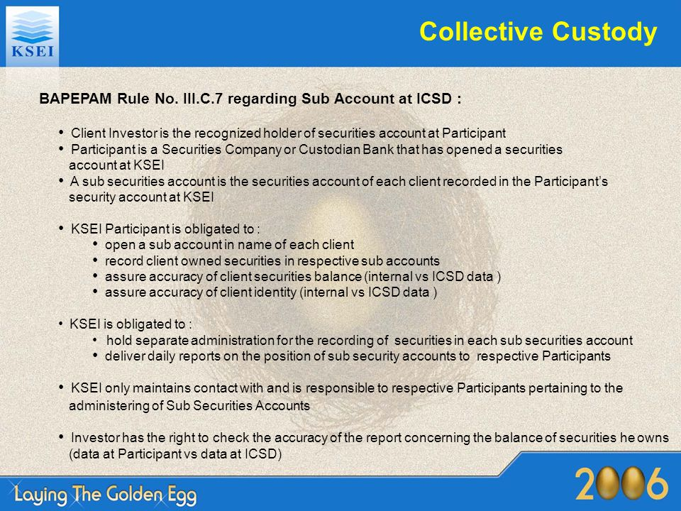 Collective Custody BAPEPAM Rule No. III.C.7 regarding Sub Account at ICSD :