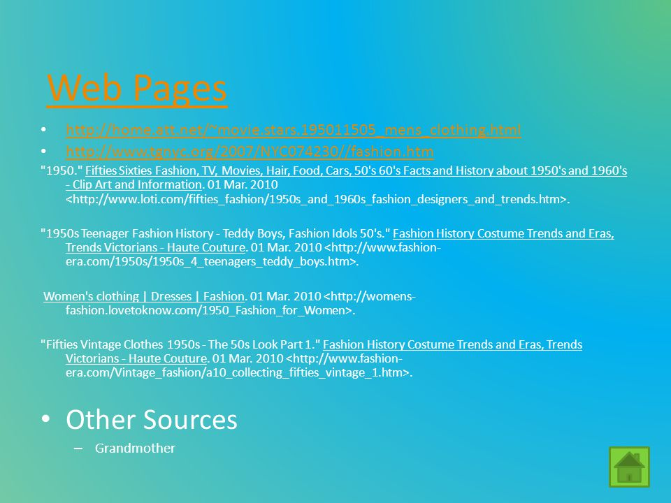 Web Pages Other Sources