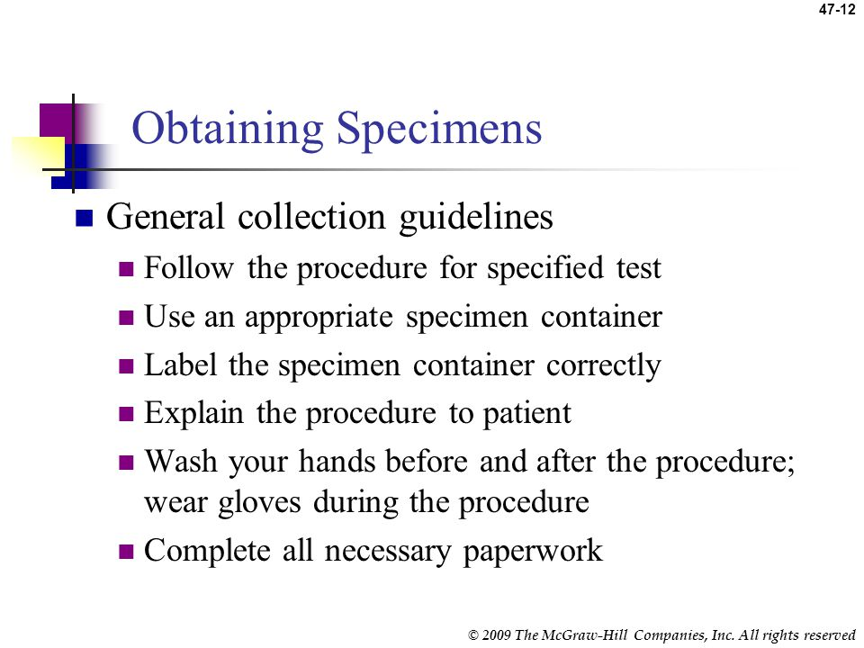 Obtaining Specimens General collection guidelines