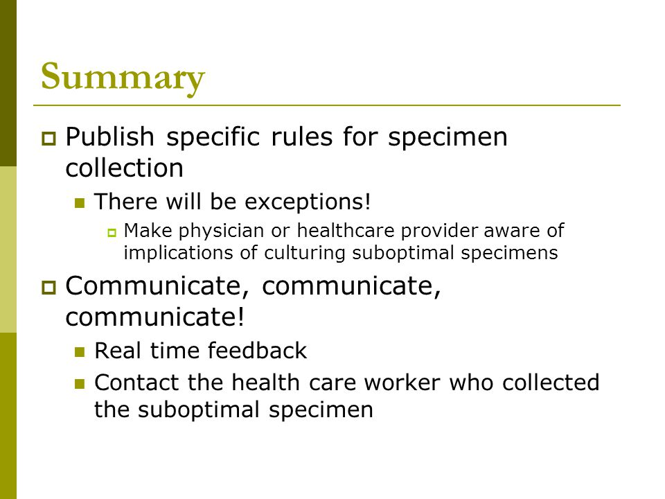 Summary Publish specific rules for specimen collection