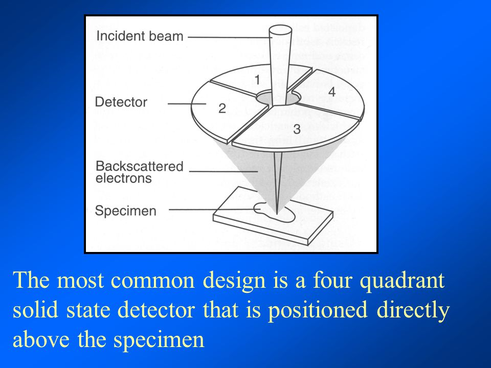 The most common design is a four quadrant solid state detector that is positioned directly above the specimen