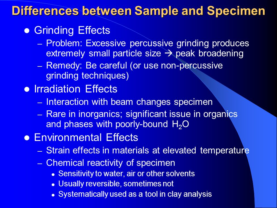 Differences between Sample and Specimen