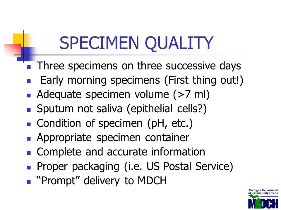 SPECIMEN QUALITY Three specimens on three successive days