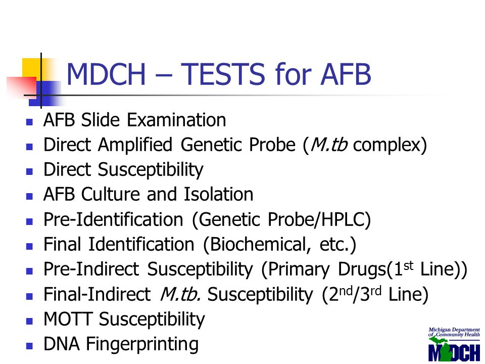MDCH – TESTS for AFB AFB Slide Examination