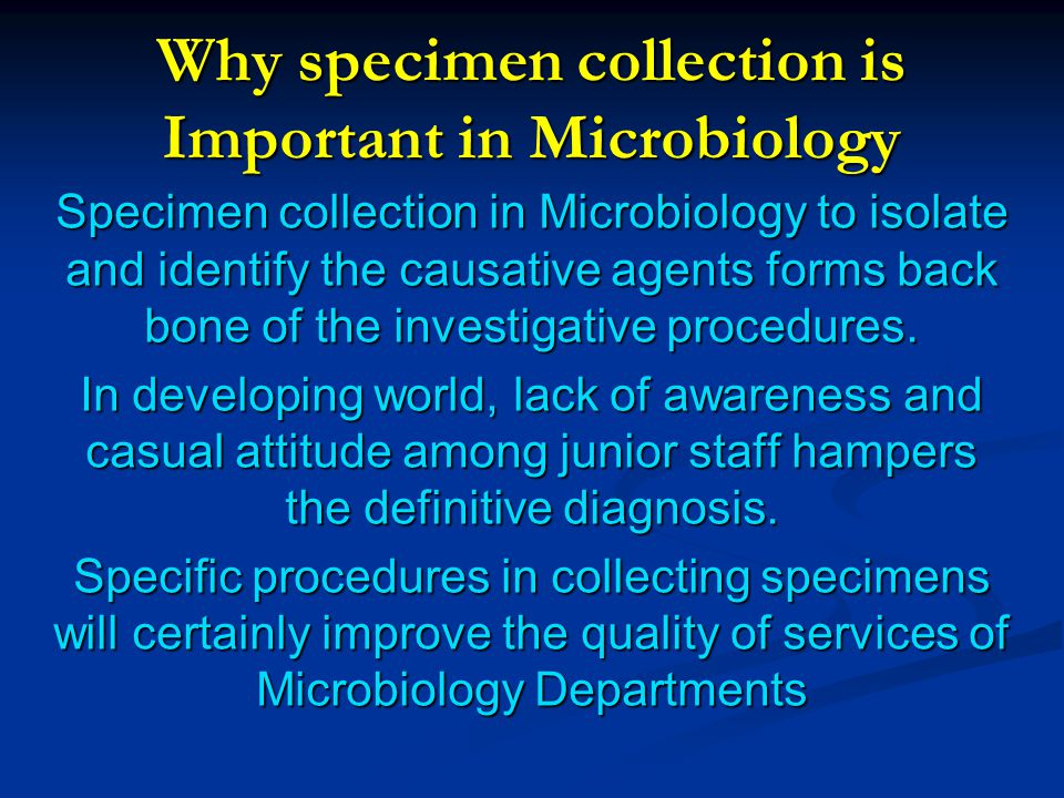Why specimen collection is Important in Microbiology