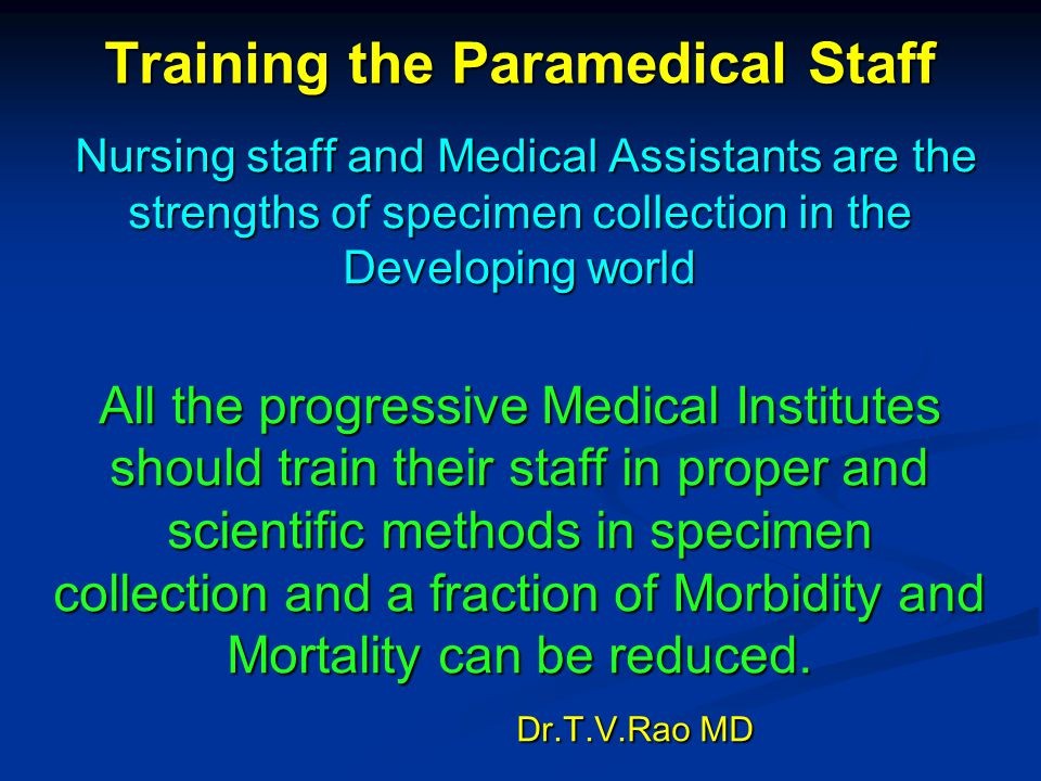 Training the Paramedical Staff
