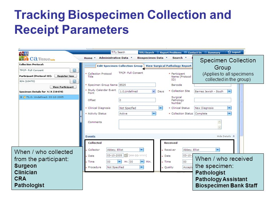 Tracking Biospecimen Collection and Receipt Parameters