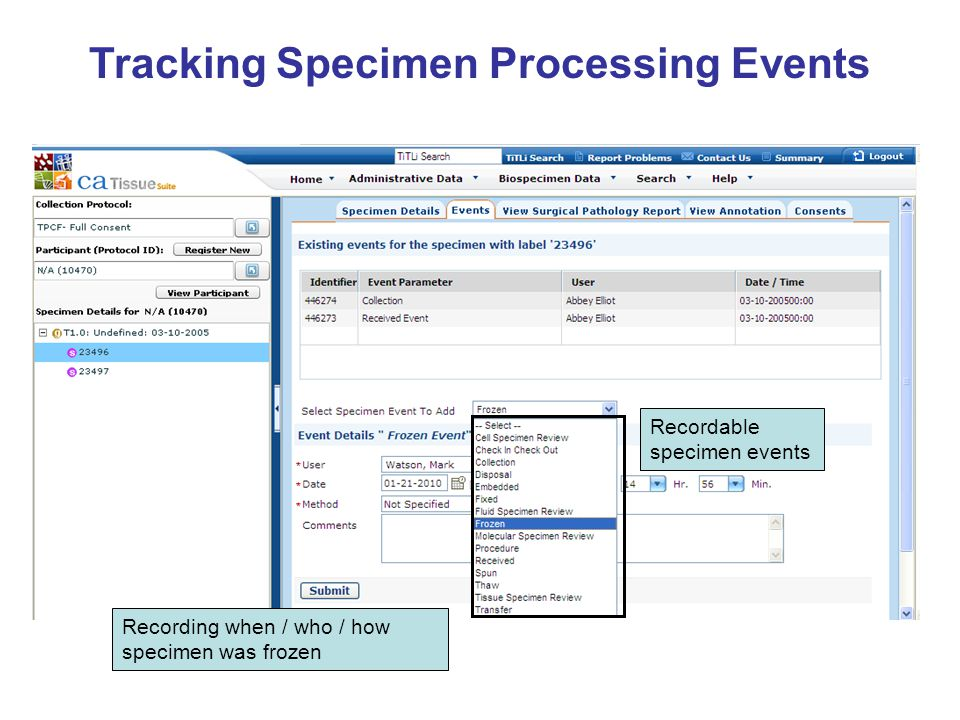 Tracking Specimen Processing Events