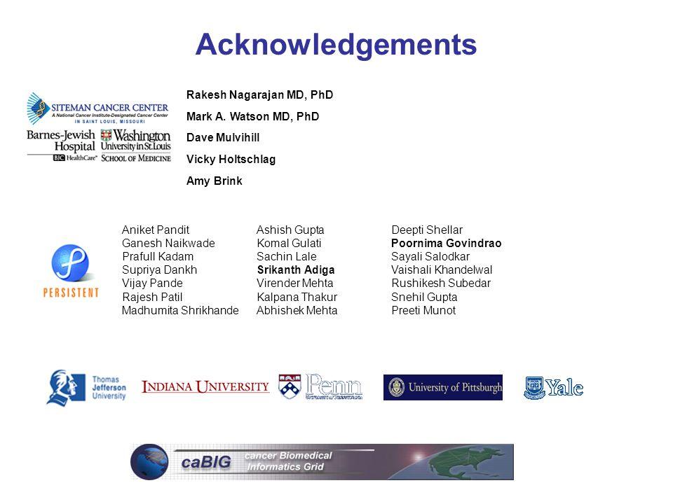 Acknowledgements Rakesh Nagarajan MD, PhD Mark A. Watson MD, PhD