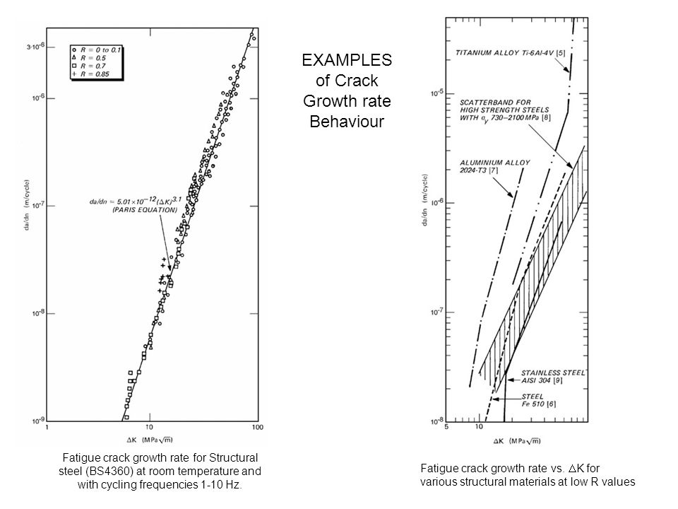 EXAMPLES of Crack Growth rate Behaviour