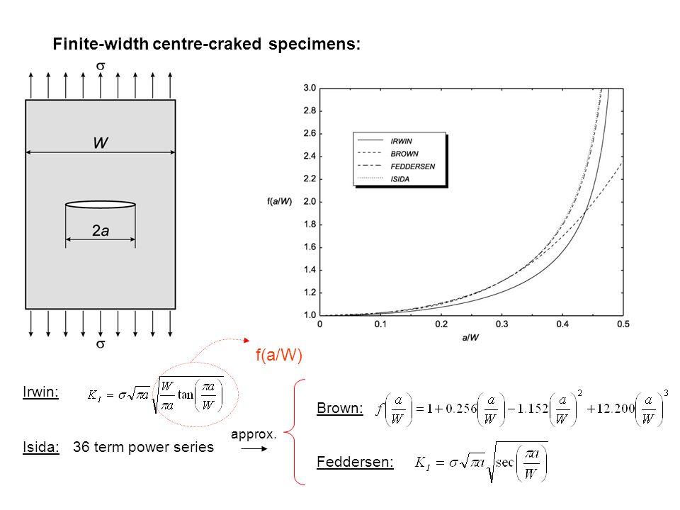 Finite-width centre-craked specimens: