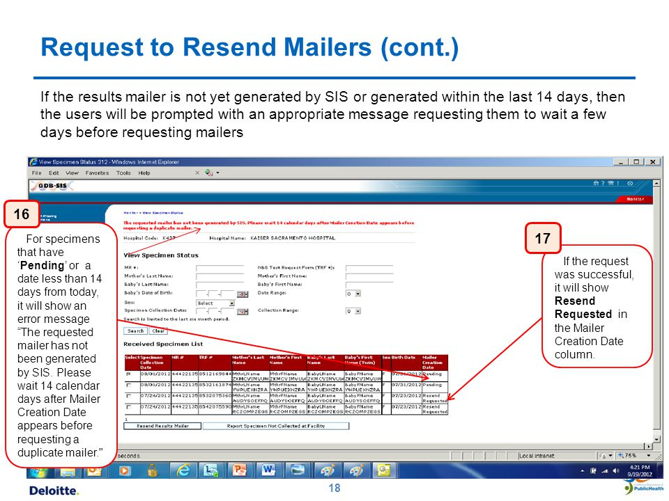Request to Resend Mailers (cont.)