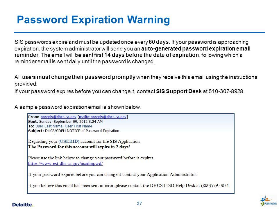 Password Expiration Warning