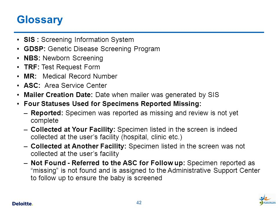 Glossary SIS : Screening Information System