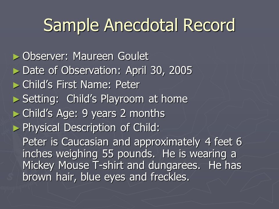 Sample Anecdotal Record