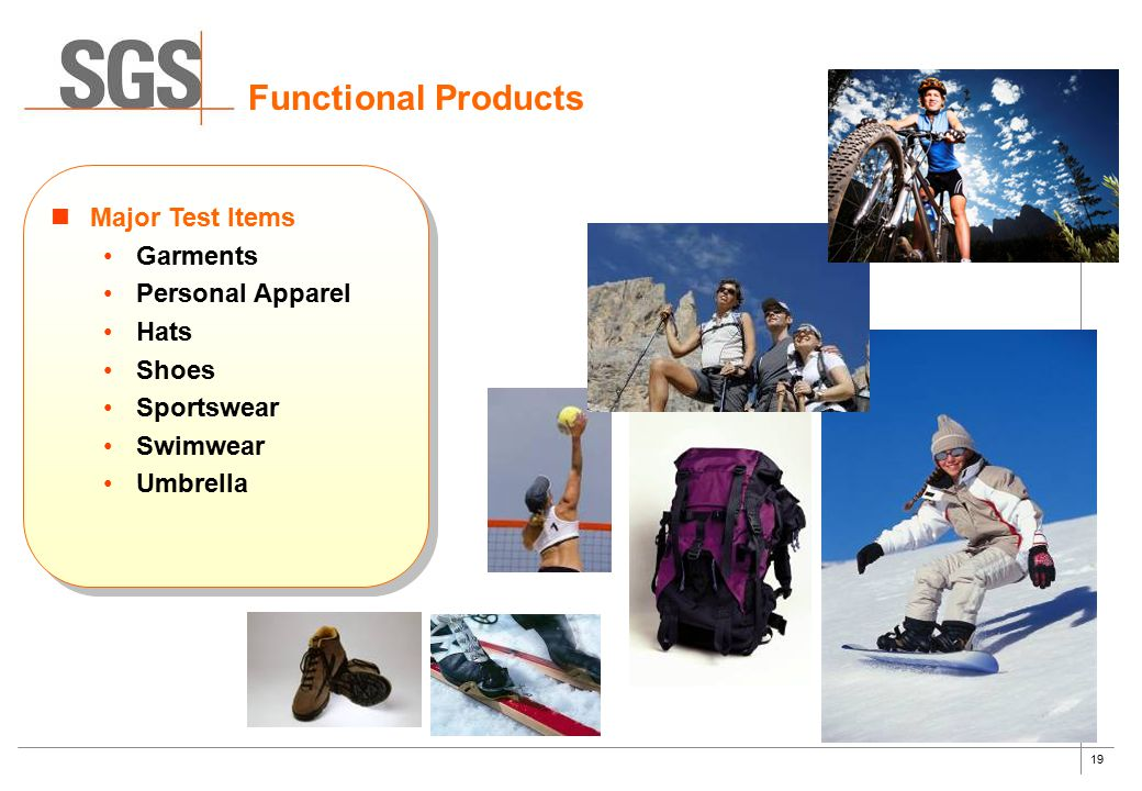Functional Products Major Test Items Garments Personal Apparel Hats