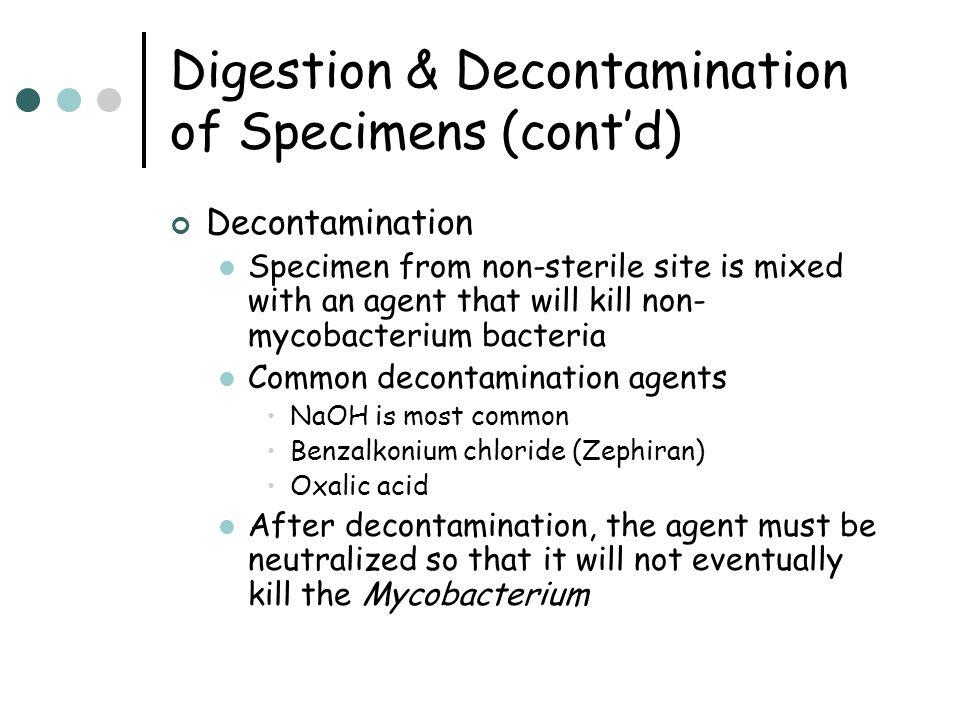 Digestion & Decontamination of Specimens (cont'd)