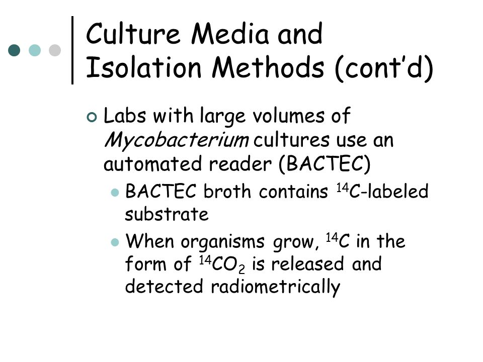 Culture Media and Isolation Methods (cont'd)