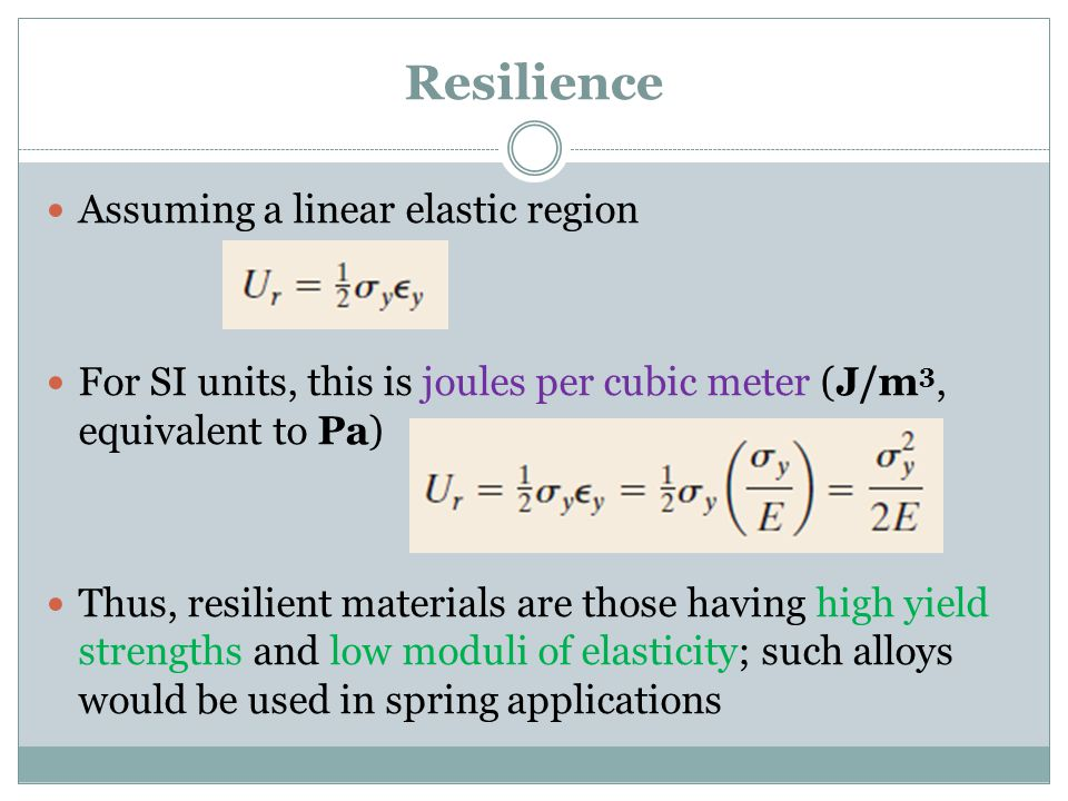 Resilience Assuming a linear elastic region
