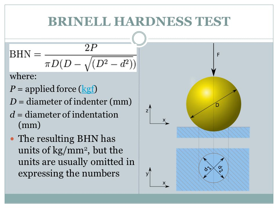 BRINELL HARDNESS TEST where: P = applied force (kgf) D = diameter of indenter (mm) d = diameter of indentation (mm)