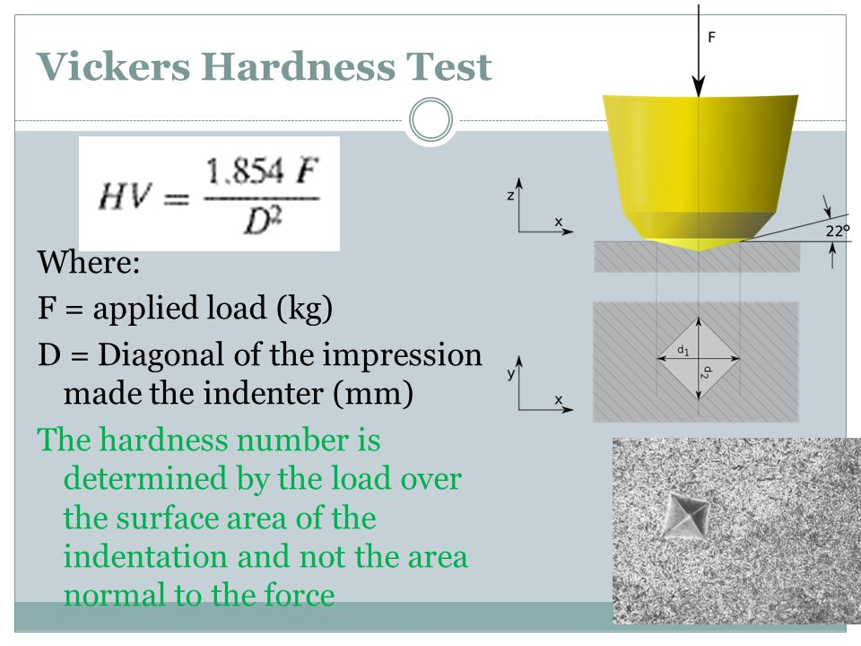 Vickers Hardness Test Where: F = applied load (kg)