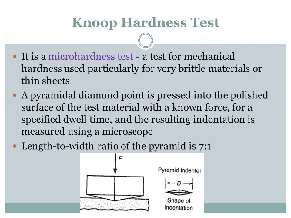 Knoop Hardness Test It is a microhardness test - a test for mechanical hardness used particularly for very brittle materials or thin sheets.