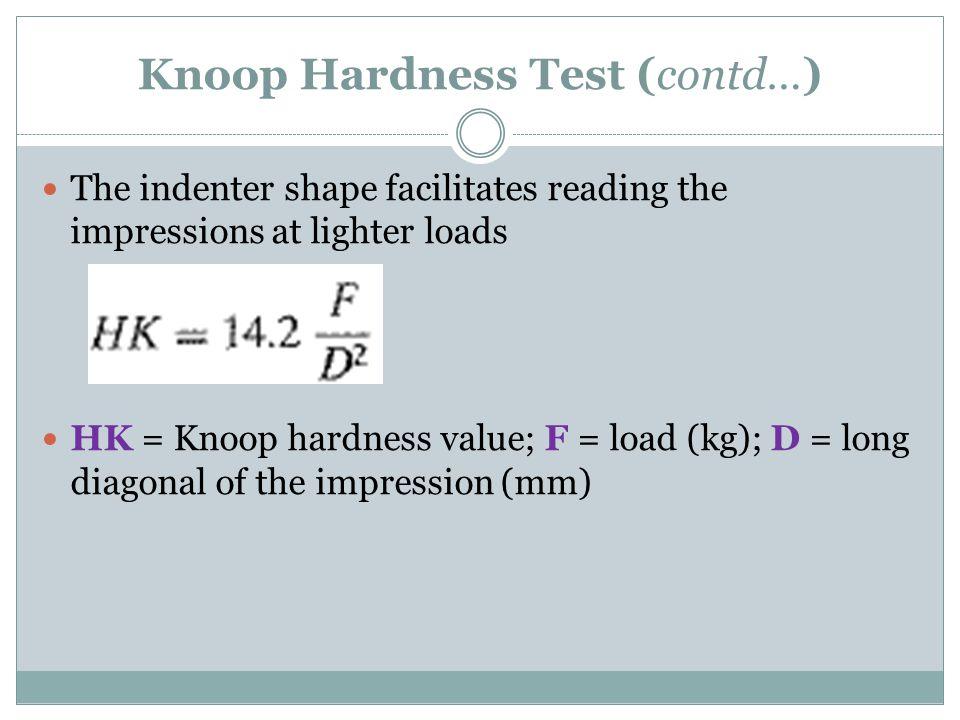 Knoop Hardness Test (contd…)