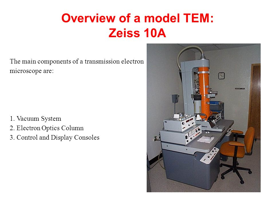 Overview of a model TEM: Zeiss 10A