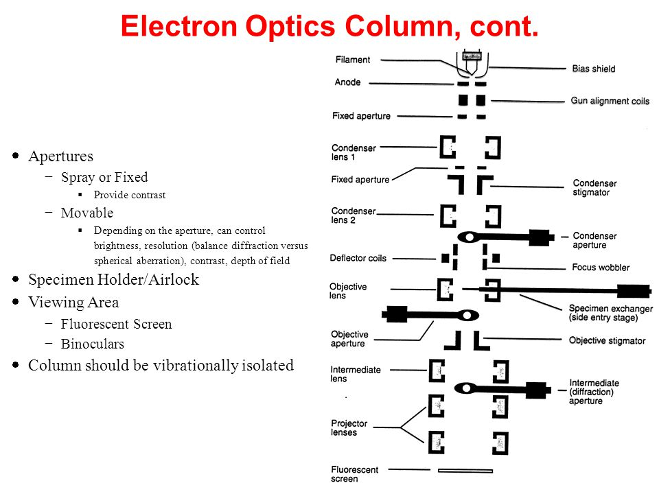 Electron Optics Column, cont.