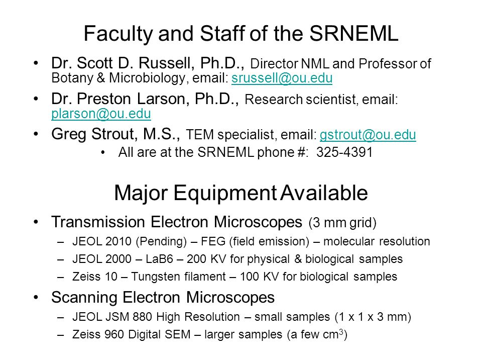 Faculty and Staff of the SRNEML