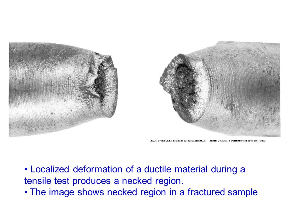 The image shows necked region in a fractured sample