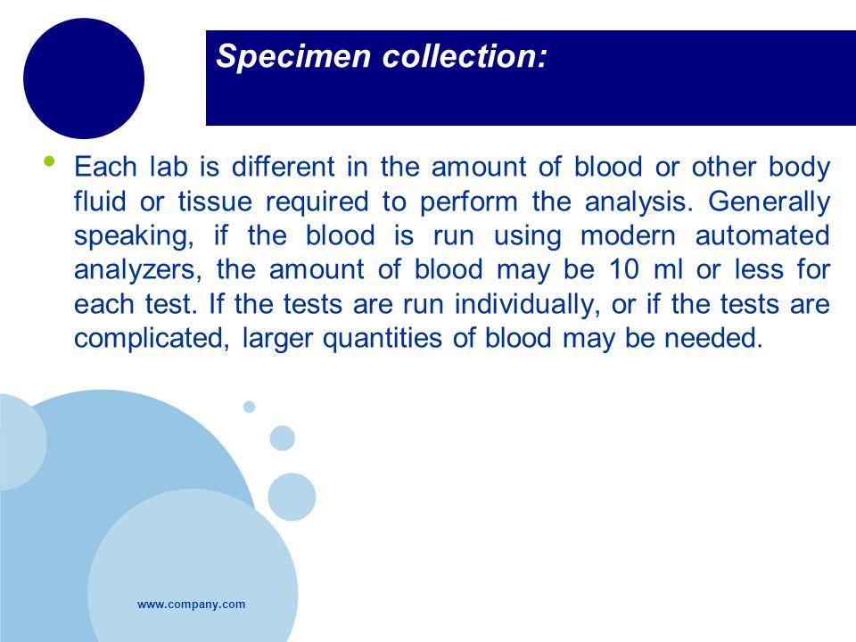 Specimen collection: