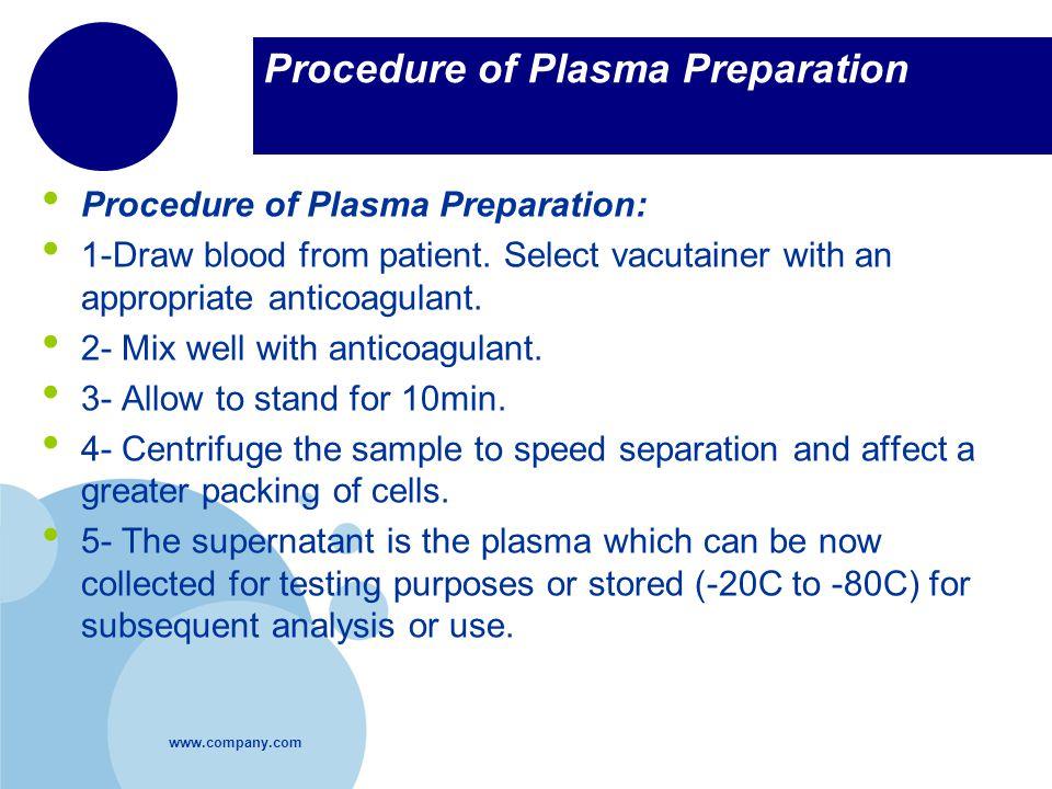 Procedure of Plasma Preparation