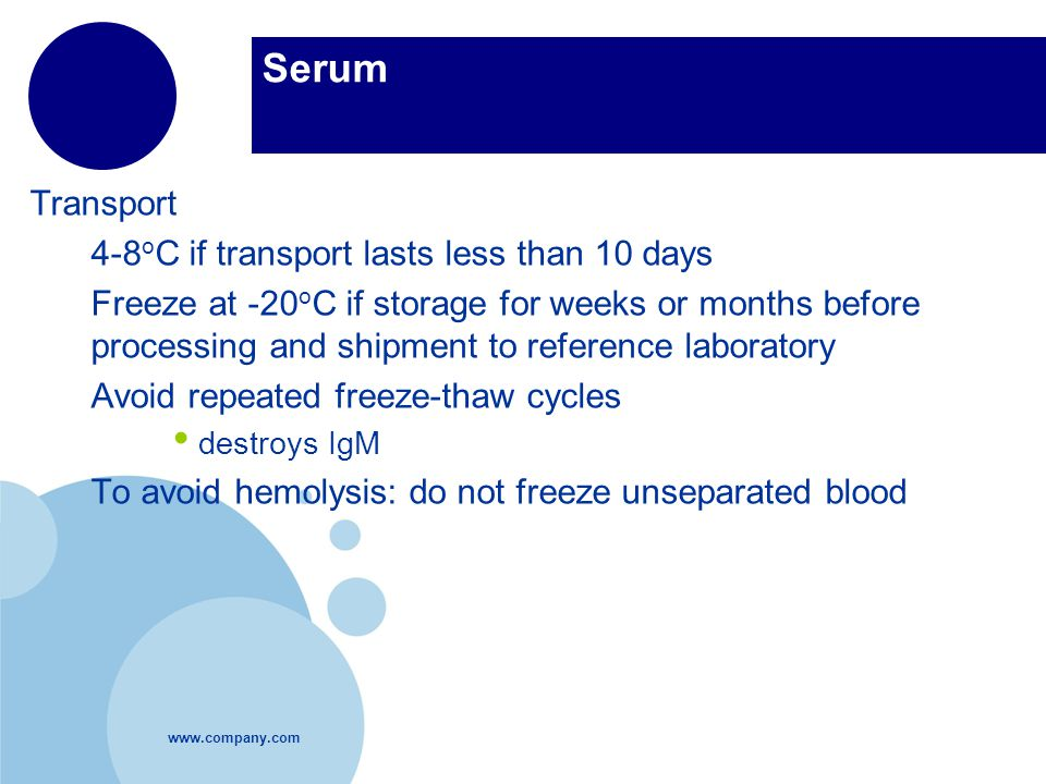 Serum Transport 4-8oC if transport lasts less than 10 days