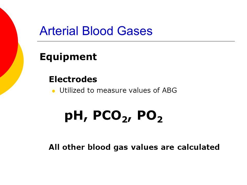 pH, PCO2, PO2 Arterial Blood Gases Electrodes Equipment