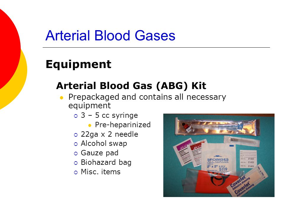 Arterial Blood Gases Equipment Arterial Blood Gas (ABG) Kit