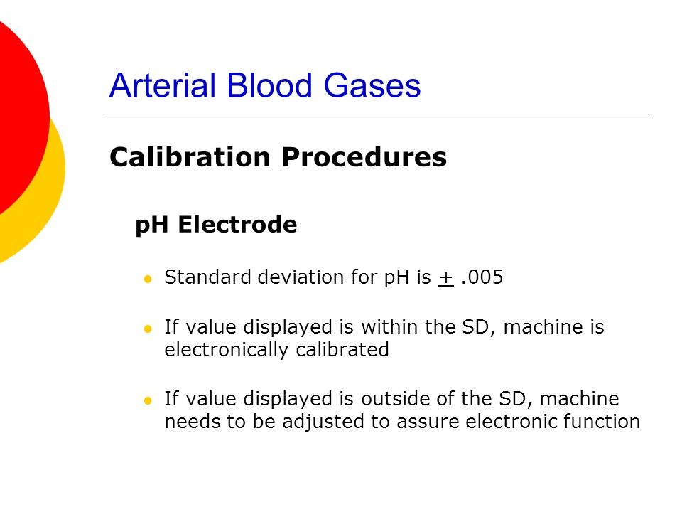 Arterial Blood Gases pH Electrode Calibration Procedures